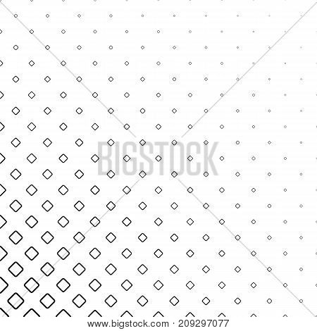 Monochrome abstract square pattern background - black and white geometric halftone vector graphic design from diagonal rounded squares