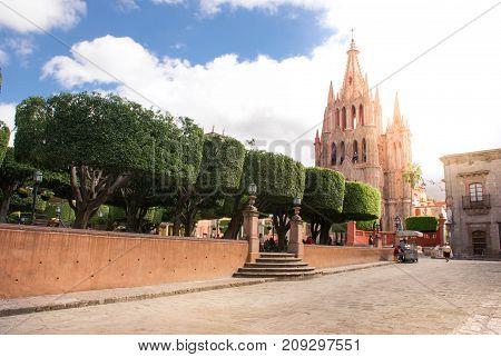 San Miguel de Allende Mexico - October 21 2014: La Parroquia de San Miguel Arcangel on the main plaza of San Miguel de Allende. Guanajuato State Mexico