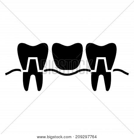 denture icon, illustration, vector sign on isolated background