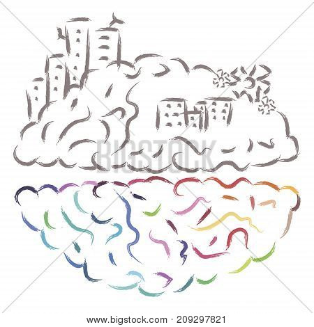 Two sides of the brain activity vector illustration. Colorful and gray thinking