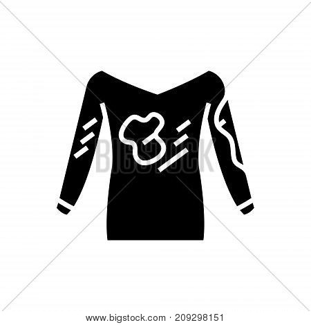 dirty clothes - hoodie - laundry service - stain removal icon, illustration, vector sign on isolated background