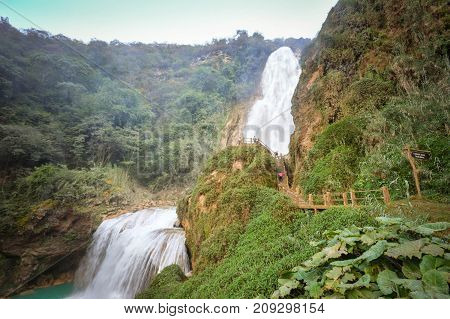 Beautiful El Chifflon waterfalls in the state of Chiapas near Comitan de Dominguez Mexico. The bigger waterfall is called Bridal Veil