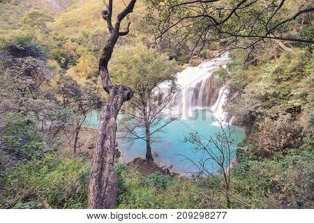 Beautiful El Chifflon waterfalls in the state of Chiapas near Comitan de Dominguez Mexico