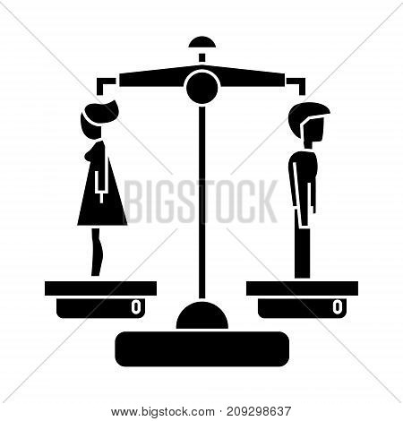 divorce - man woman icon, illustration, vector sign on isolated background