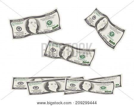 100 Dollars Banknote. Bill one hundred dollars isolated on white background. The concept of prosperity success growth in business. Flying falling currency of US. Vector illustration flat style.