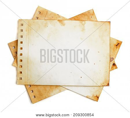 Heap of vintage style note pages on white. Work path