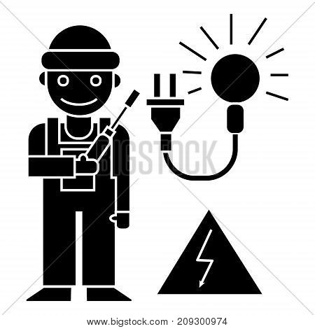 electrican icon, illustration, vector sign on isolated background