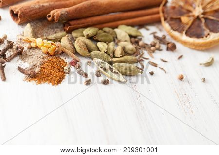 Classic Spices For Mulled Wine Close-up On White