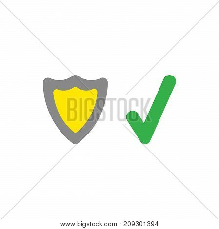 Vector illustration security concept of grey and yellow shield guard plus green check mark icon on white background with flat design style.