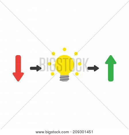 Vector Concept Of Arrow Pointing Down With Light Bulb Symbolizing The Idea And Arrow Pointing Up On