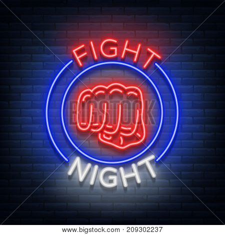 Fighting night logo neon sign isolated vector illustration. Neon banner, night glowing emblem advertisement.