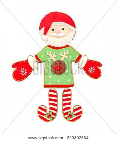 Funny Santa Claus done with Christmas cookies isolated on a white background
