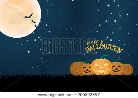 Vector wide poster for Halloween with full moon flock of bats dark grass group of pumpkins on the gradient dark blue background with stars.