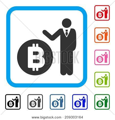 Bitcoin Banker icon. Flat gray iconic symbol in a light blue rounded squared frame. Black, gray, green, blue, red, orange color variants of Bitcoin Banker vector. Designed for web and app interfaces.