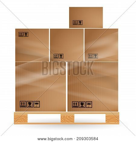 Cardboard Boxes With Cargo Stacked On A Wooden Pallet. Euro Pallets. Warehouse With Goods.