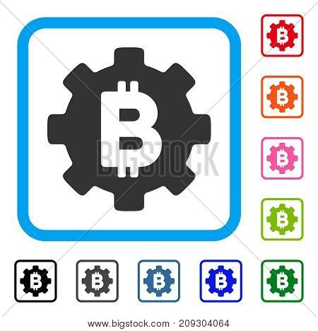 Bitcoin Cog Wheel icon. Flat grey pictogram symbol in a light blue rounded square. Black, gray, green, blue, red, orange color versions of Bitcoin Cog Wheel vector.