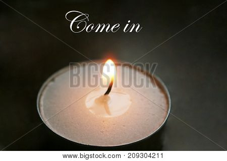 Romantic Candle With Come In Stock Photo
