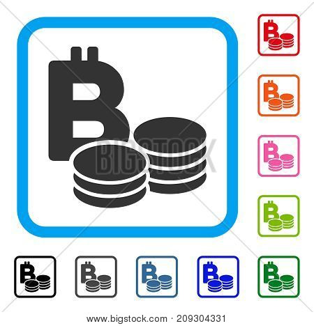 Bitcoin Coins icon. Flat grey iconic symbol inside a light blue rounded rectangle. Black, gray, green, blue, red, orange color variants of Bitcoin Coins vector. Designed for web and app UI.