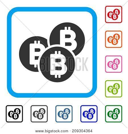 Bitcoin Coins icon. Flat grey pictogram symbol in a light blue rounded rectangle. Black, gray, green, blue, red, orange color versions of Bitcoin Coins vector. Designed for web and app user interface.