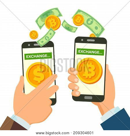 Money Exchange Banking Concept Vector. Human Hand Banner. Hand Holding Smartphone. Mobile Smart Phone And Hands. Dollar And Bitcoin. Wireless Finance Sending. Isolated