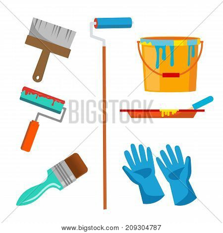 Wall Painting Items Vector. Accessories Set. Roll Brush, Paint, Bucket, Gloves Isolated Cartoon