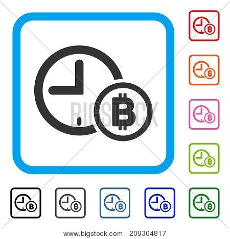 Bitcoin Credit Clock icon. Flat gray iconic symbol inside a light blue rounded rectangle. Black, gray, green, blue, red, orange color variants of Bitcoin Credit Clock vector.