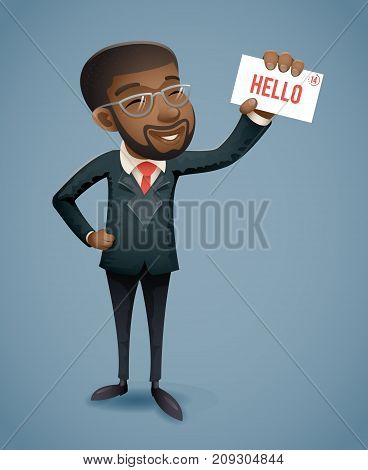Afro American African European Businessman Character Presentation Demonstration Card Call Greeting Banking Vintage Hand Icon Retro Cartoon Design Vector Illustration