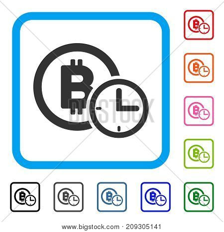 Bitcoin Credit Time icon. Flat grey pictogram symbol inside a light blue rounded frame. Black, gray, green, blue, red, orange color variants of Bitcoin Credit Time vector.