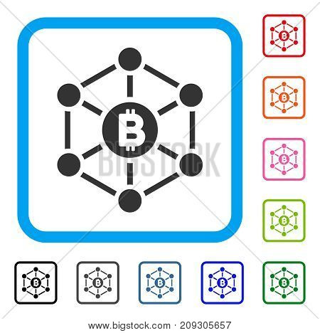 Bitcoin Finance Netwok icon. Flat gray iconic symbol in a light blue rounded frame. Black, gray, green, blue, red, orange color versions of Bitcoin Finance Netwok vector.