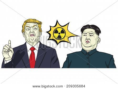 Donald Trump Vs Kim Jong-un Nuclear Sign. Vector Cartoon Illustration. October 17, 2017
