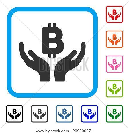 Bitcoin Maintenance Hands icon. Flat grey iconic symbol inside a light blue rounded rectangle. Black, gray, green, blue, red, orange color variants of Bitcoin Maintenance Hands vector.