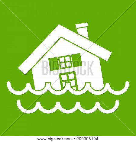 House sinking in a water icon white isolated on green background. Vector illustration