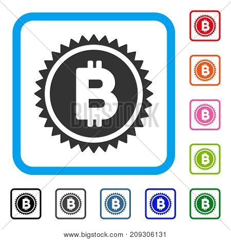 Bitcoin Medal Coin icon. Flat grey pictogram symbol inside a light blue rounded square. Black, gray, green, blue, red, orange color versions of Bitcoin Medal Coin vector.