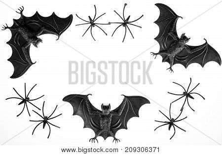 Spooky halloween border image with toy vampire bats and spiders. Black and white photograph of fun scary novelty toys.