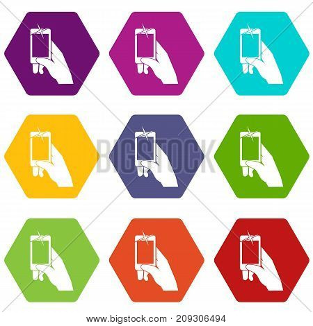 Hand taking pictures on cell phone icon set many color hexahedron isolated on white vector illustration