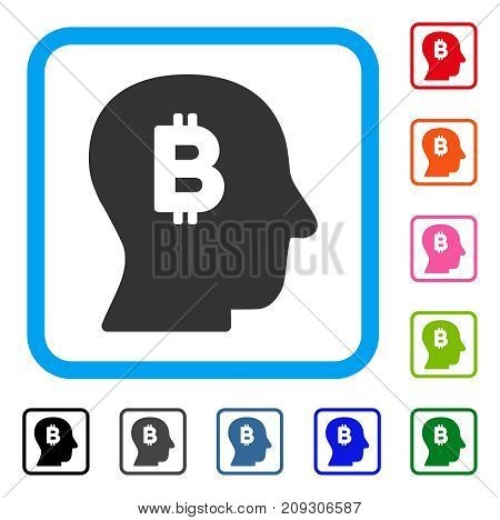 Bitcoin Mind icon. Flat gray iconic symbol in a light blue rounded frame. Black, gray, green, blue, red, orange color variants of Bitcoin Mind vector. Designed for web and software interfaces.