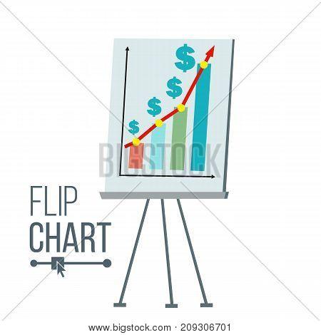 Flip Chart Vector. Flat Cartoon Isolated Illustration. Business Info Graphic Presentation. Pie Graph