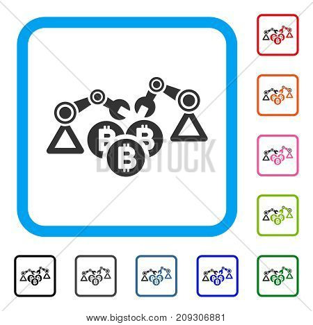 Bitcoin Mining Robotics icon. Flat gray pictogram symbol in a light blue rounded squared frame. Black, gray, green, blue, red, orange color additional versions of Bitcoin Mining Robotics vector.