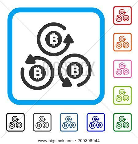 Bitcoin Mixer Rotation icon. Flat gray iconic symbol inside a light blue rounded frame. Black, gray, green, blue, red, orange color additional versions of Bitcoin Mixer Rotation vector.