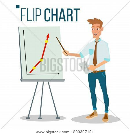 Flip Chart Seminar Concept Vector. Man Showing Presentation. Flat Cartoon Isolated Illustration. Business Info Graphic. Pie Graph