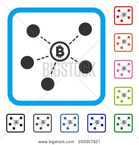 Bitcoin Network icon. Flat grey iconic symbol inside a light blue rounded frame. Black, gray, green, blue, red, orange color additional versions of Bitcoin Network vector.