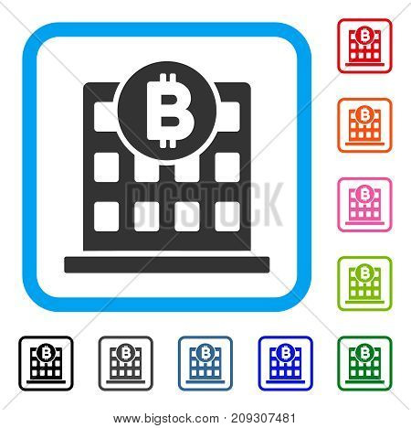Bitcoin Office Building icon. Flat gray pictogram symbol inside a light blue rounded rectangular frame. Black, gray, green, blue, red, orange color variants of Bitcoin Office Building vector.