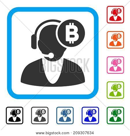 Bitcoin Operator icon. Flat gray iconic symbol in a light blue rounded square. Black, gray, green, blue, red, orange color additional versions of Bitcoin Operator vector.