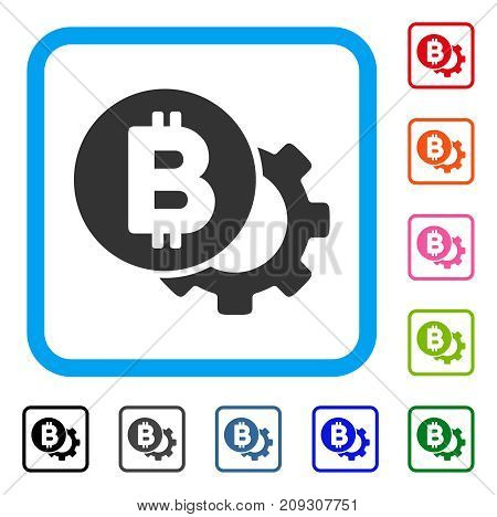 Bitcoin Options Gear icon. Flat grey iconic symbol inside a light blue rounded square. Black, gray, green, blue, red, orange color versions of Bitcoin Options Gear vector.