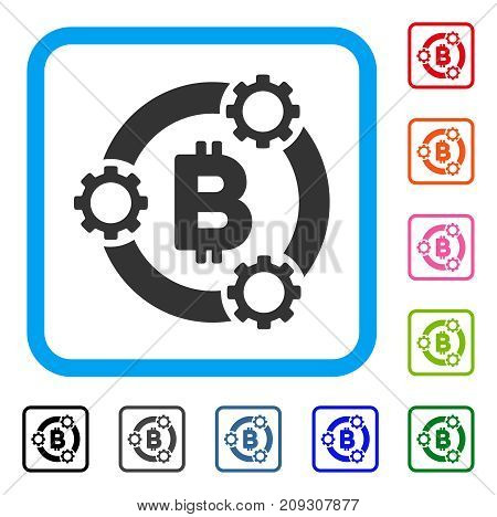 Bitcoin Pool Collaboration icon. Flat gray iconic symbol inside a light blue rounded squared frame. Black, gray, green, blue, red, orange color variants of Bitcoin Pool Collaboration vector.