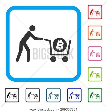 Bitcoin Purchase Cart icon. Flat grey pictogram symbol inside a light blue rounded squared frame. Black, gray, green, blue, red, orange color variants of Bitcoin Purchase Cart vector.