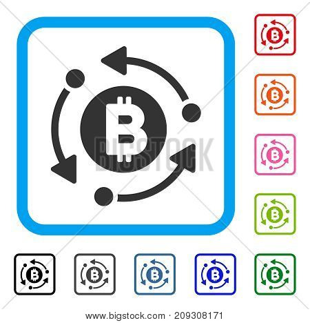 Bitcoin Rotation Arrows icon. Flat grey iconic symbol in a light blue rounded squared frame. Black, gray, green, blue, red, orange color additional versions of Bitcoin Rotation Arrows vector.