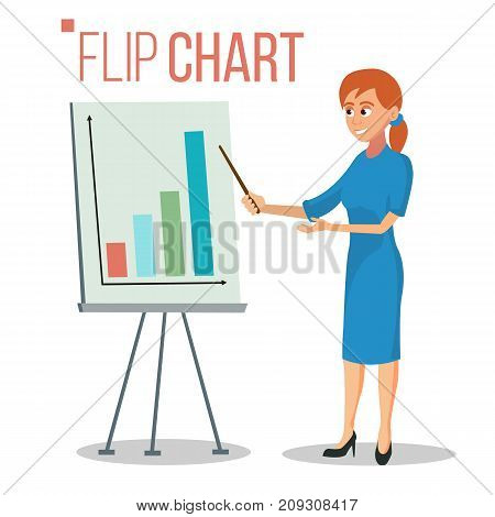 Flip Chart Presentation Concept Vector. Woman Showing Strategy Presentation. Training Conference Meeting. Flat Cartoon Isolated Illustration. Business Info