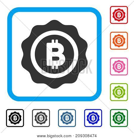 Bitcoin Seal icon. Flat gray iconic symbol inside a light blue rounded square. Black, gray, green, blue, red, orange color versions of Bitcoin Seal vector. Designed for web and app UI.