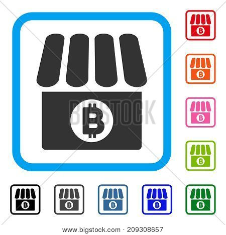 Bitcoin Shop icon. Flat grey iconic symbol in a light blue rounded rectangle. Black, gray, green, blue, red, orange color variants of Bitcoin Shop vector. Designed for web and software UI.